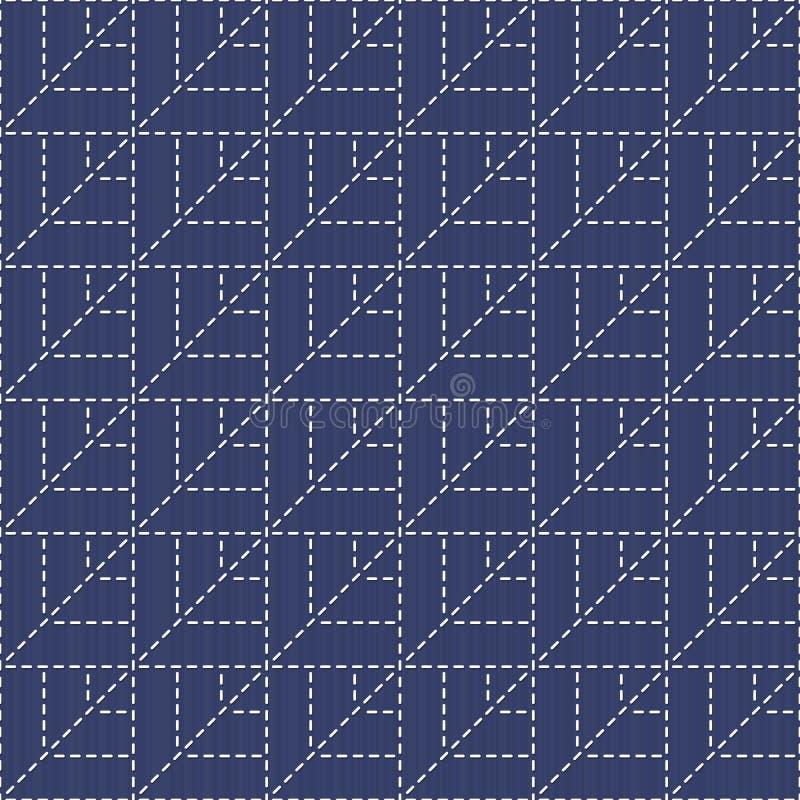 Traditionelle japanische Stickerei-Verzierung Sashiko mit Blättern Verschiedene Varianten der Farbe sind möglich lizenzfreie abbildung