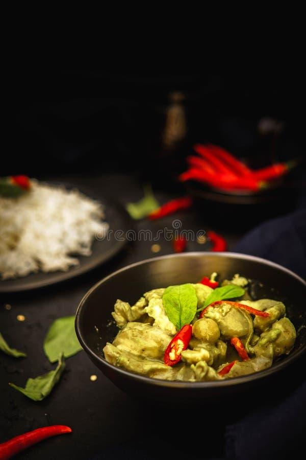 Traditionelle Küche Thailands, grüner Curry, Hühnercurry, Reis, Straßenlebensmittel, würziger Curry lizenzfreie stockbilder