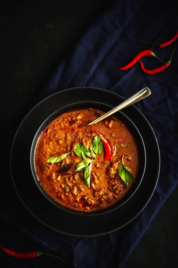 Traditionelle Küche Thailands, roter Curry, Currysuppe, Straßenlebensmittel, dunkle Lebensmittelphotographie lizenzfreies stockfoto