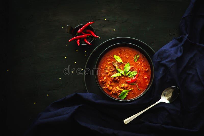 Traditionelle Küche Thailands, roter Curry, Currysuppe, Straßenlebensmittel, dunkle Lebensmittelphotographie lizenzfreie stockfotografie