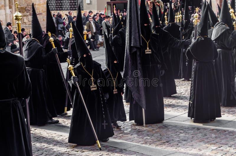 Traditionelle Karwocheprozession in Zamora, Spanien lizenzfreies stockbild