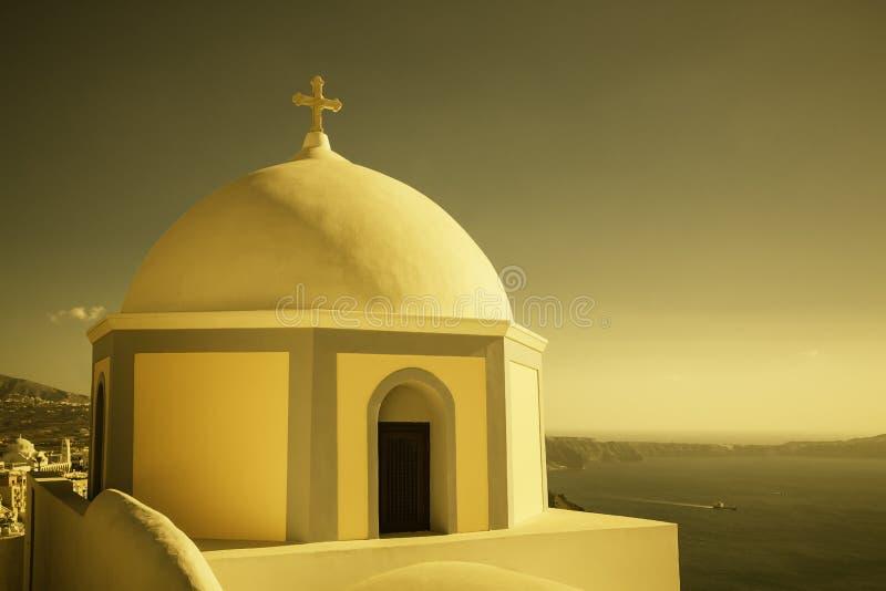 Traditionelle Kirche in Thira, Santorini, Griechenland lizenzfreies stockfoto