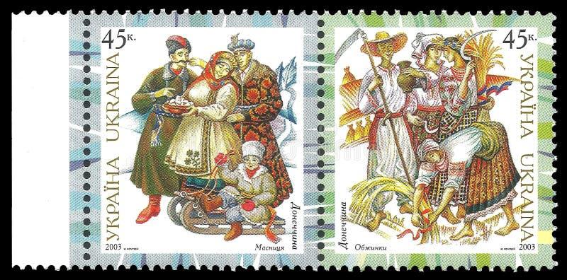 Traditionelle Kostüme Donetsks lizenzfreie stockfotos