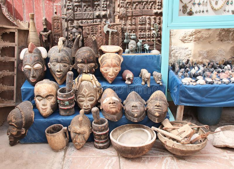 Traditionelle marokkanische Andenken auf souk in Essaouira, Marokko, Af stockfotos