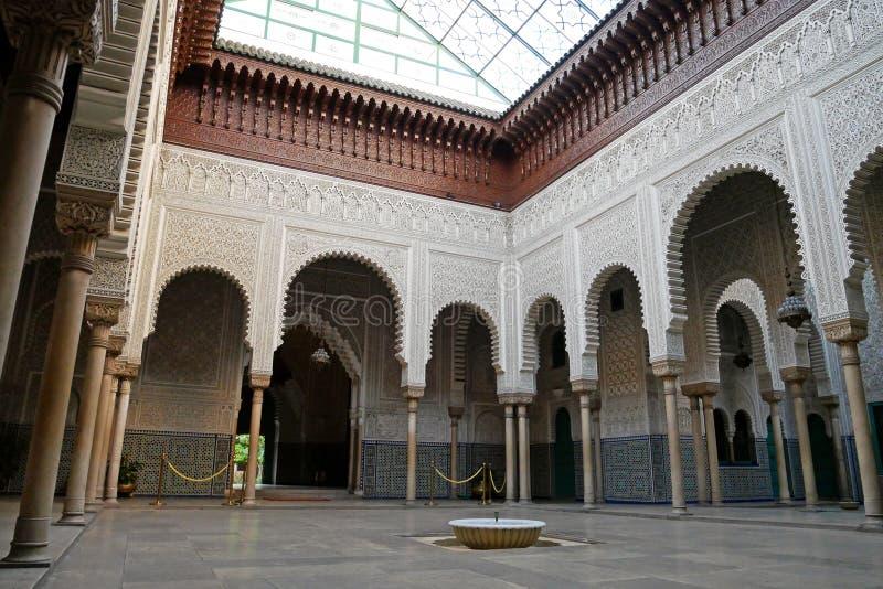 Traditionelle marokkanische Architektur auf Mahkama du Pacha Palace in Casablanca, MAROKKO lizenzfreie stockfotos