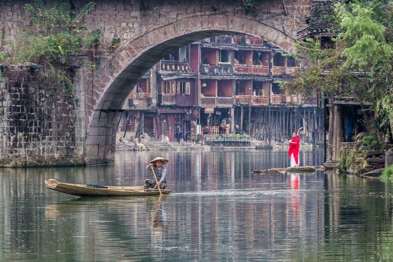 Traditionelle Morgentätigkeit in Fenghuang stockbilder