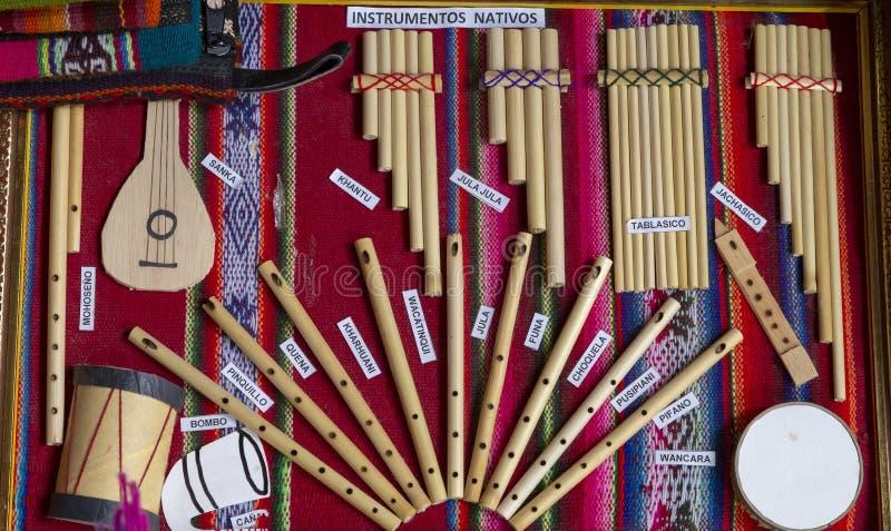 traditionelle Musikinstrumente von Peru lizenzfreies stockbild