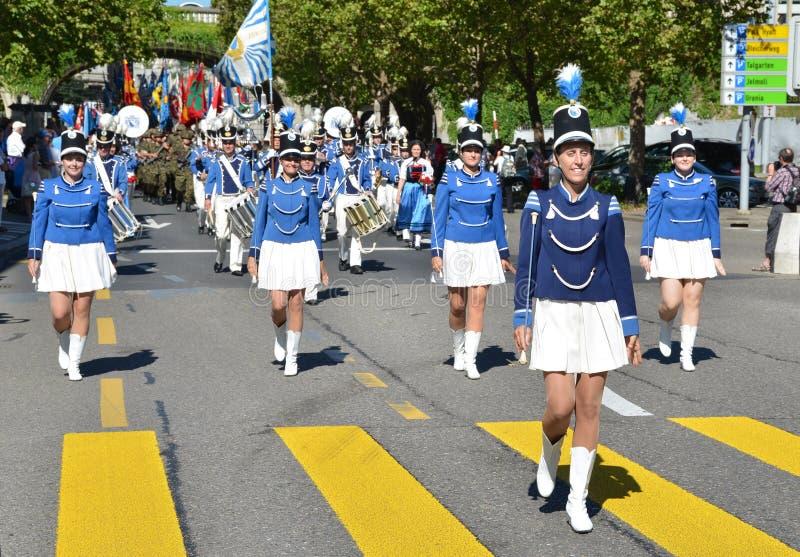 Traditionelle Parade in Zürich lizenzfreie stockfotografie
