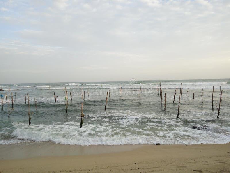 Traditionelle Polfischerei in Sri Lanka lizenzfreie stockfotografie