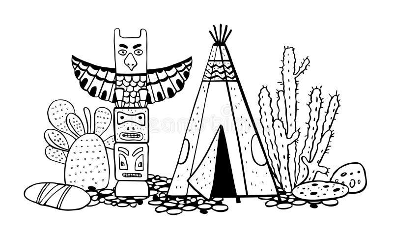 Traditionelle Regelung der gebürtigen Indianer Tipi, Totempfahl und Kakteen Gezeichnete Skizzenillustration des Vektors Hand lizenzfreie abbildung