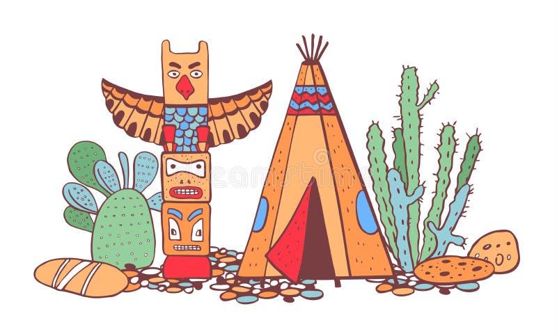 Traditionelle Regelung der gebürtigen Indianer Tipi, Totempfahl und Kakteen Vektorfarbhand gezeichnete Illustration vektor abbildung