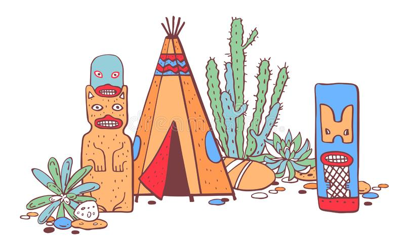 Traditionelle Regelungen des amerikanischen Ureinwohners Tipi, Totempfähle und Kakteen Farbvektorhandgezogene Entwurfs-Skizzenill vektor abbildung