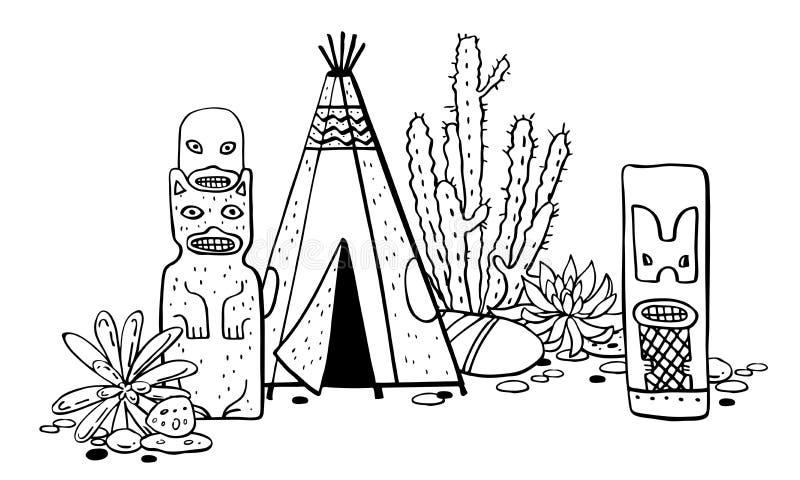 Traditionelle Regelungen des amerikanischen Ureinwohners Tipi, Totempfähle und Kakteen Vektorhandgezogene Entwurfsgekritzel-Skizz stock abbildung