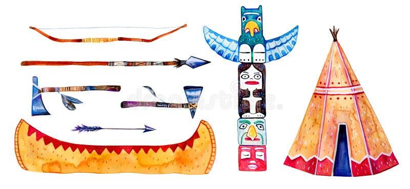 Traditionelle Regelungsgegenstände der gebürtigen Indianer Wigwam, Totempfahl, Kanu, Waffen Hand gezeichneter Aquarellillustratio vektor abbildung
