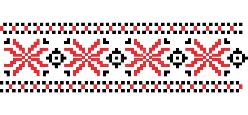Traditionelle rumänische Volkskunst gestricktes Stickereimuster Vektor lizenzfreie abbildung