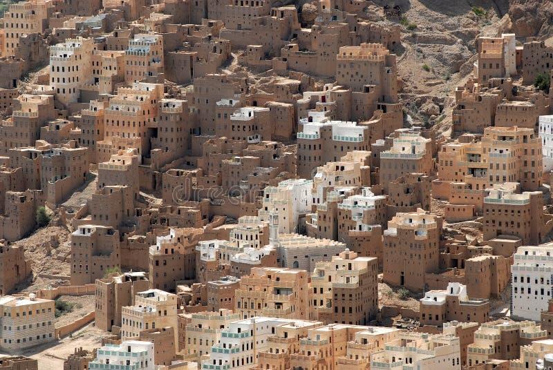 Traditionelle Schlammziegelsteingebäude von Seiyun-Stadt, Hadramaut-Tal, der Jemen stockbilder
