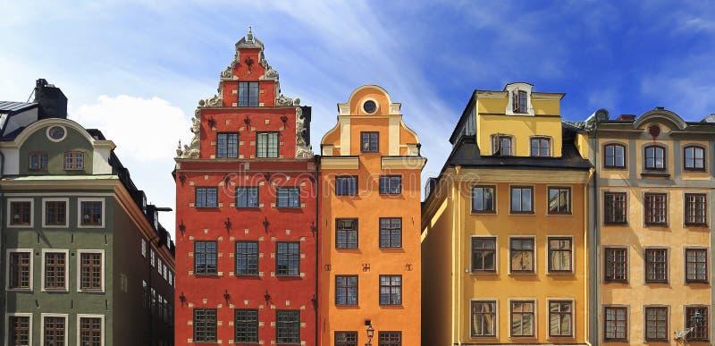 Traditionelle schwedische Architektur in Gamla Stan, Stockholm lizenzfreies stockfoto