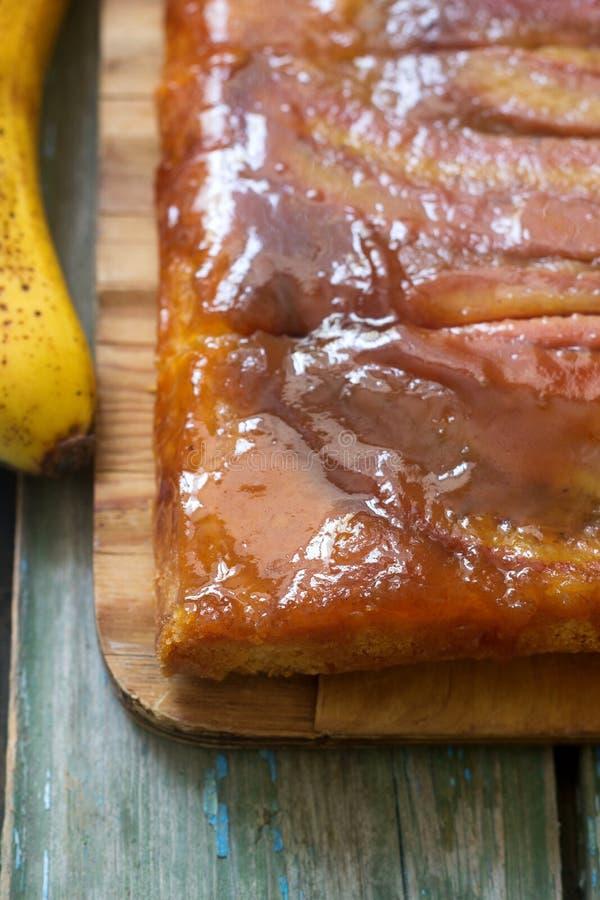 Traditionelle selbst gemachte Bananen-Karamell-Torte Französisches scharfes tatin lizenzfreies stockfoto