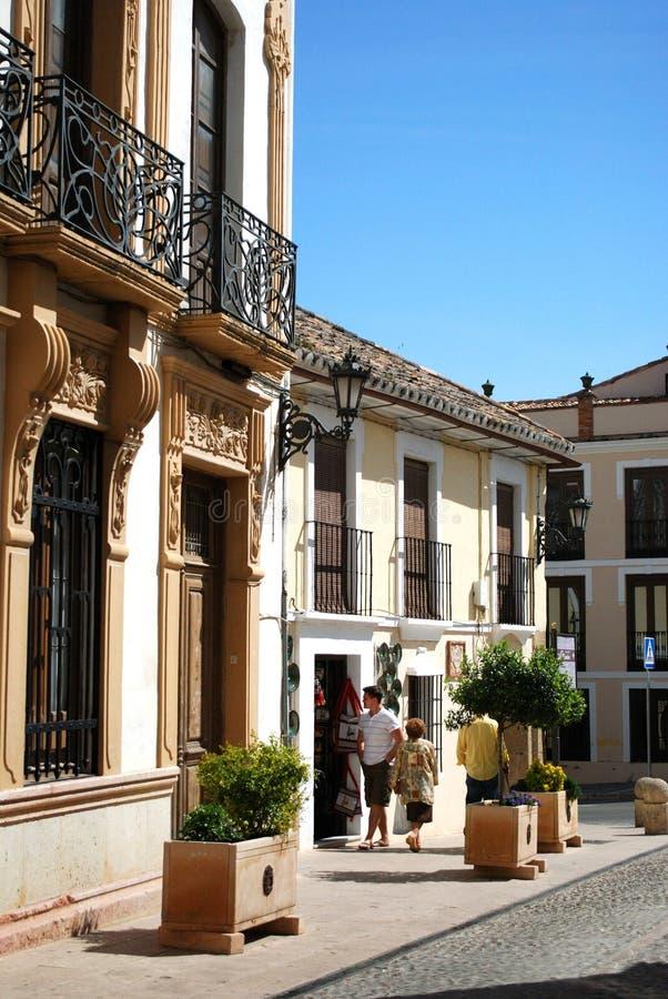 Traditionelle spanische alte Stadtgebäude, Ronda, Spanien stockfotografie