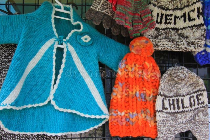 Traditionelle Strickwaren auf Chiloe-Insel, Patagonia, Chile lizenzfreie stockfotografie