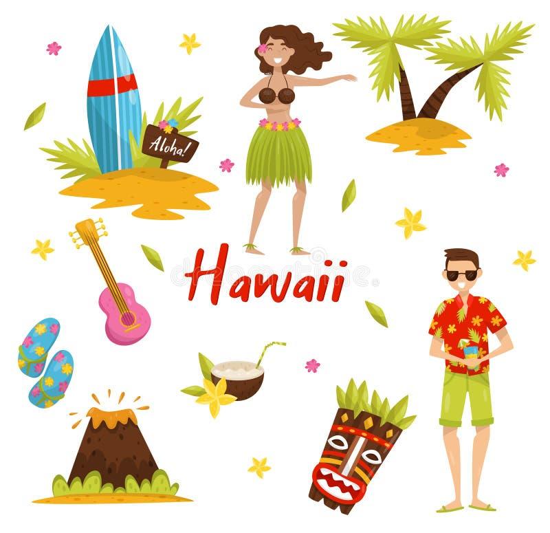 Traditionelle Symbole des hawaiischen Kultursatzes, Surfbrett, Palme, Vulkan, tiki Stammes- Maske, Ukulelevektor lizenzfreie abbildung