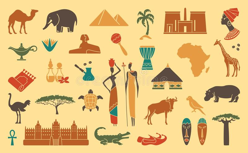Traditionelle Symbole von Afrika vektor abbildung