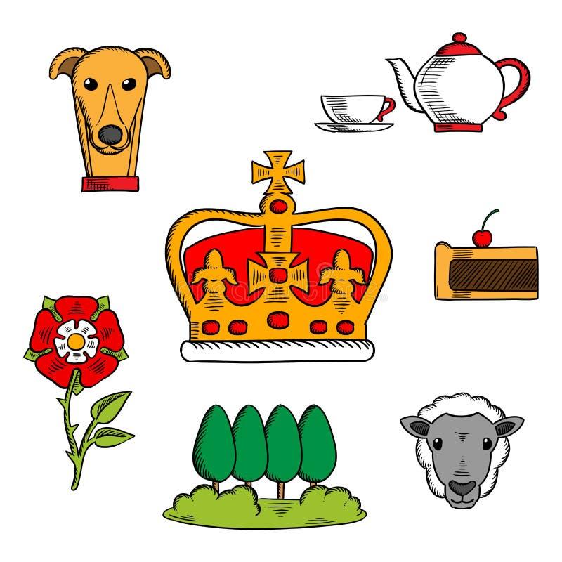 Traditionelle Symbole von Großbritannien lizenzfreie abbildung