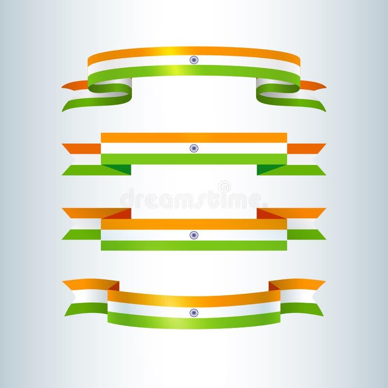 Traditionelle Symbolsammlung des Bandfahnenbandikonen Indien-Flaggenzeichens für Indien-Unabhängigkeitstag-Tag der Republik lizenzfreie abbildung