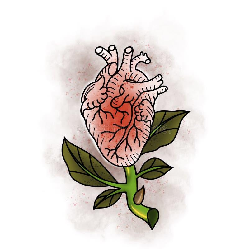 Traditionelle Tätowierung rosafarben und Herzdesign lizenzfreie abbildung