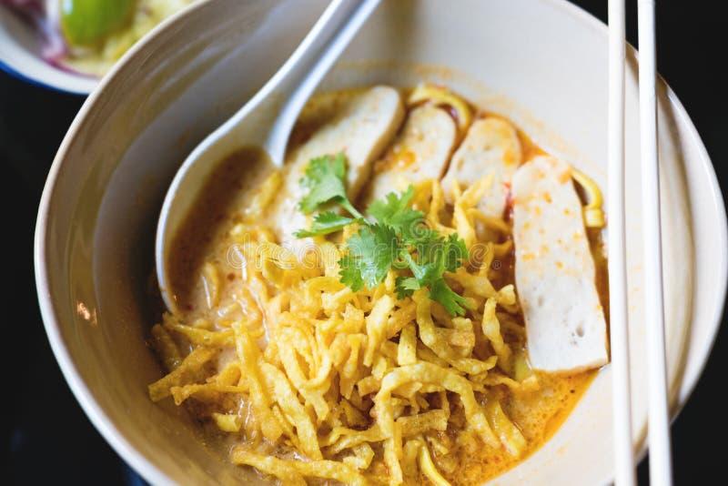 Traditionelle thailändische ` Lebensmittel ` Khao Soi Nordnudel lizenzfreies stockbild