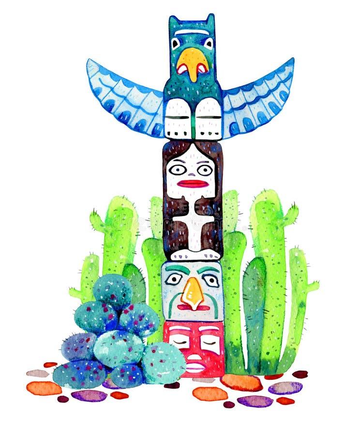 Traditionelle Totempfähle des amerikanischen Ureinwohners Hand gezeichneter Aquarellillustrationssatz Gruppe von vier schnitzte h stock abbildung