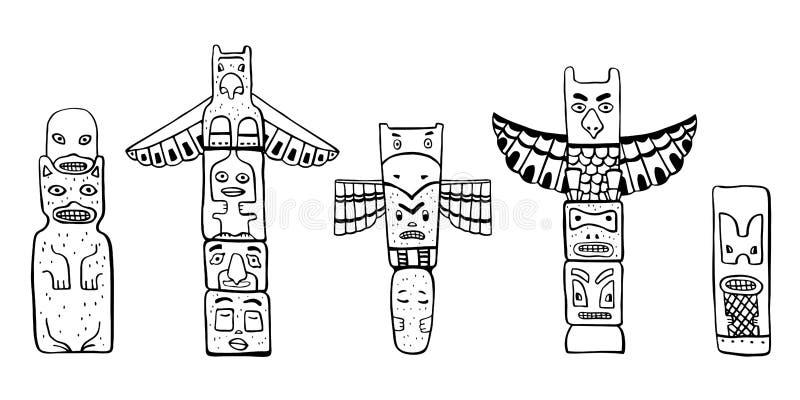 Traditionelle Totempfähle des amerikanischen Ureinwohners Vektorentwurf Handgezogener Gekritzelskizzen-Illustrationssatz stock abbildung