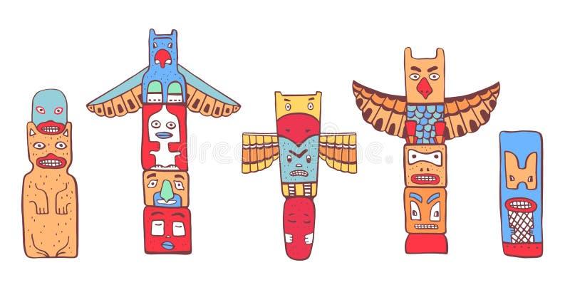 Traditionelle Totempfähle des amerikanischen Ureinwohners Vektorentwurfsfarbhandgezogener Gekritzelskizzen-Illustrationssatz vektor abbildung