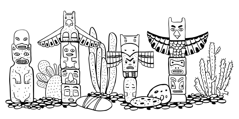 Traditionelle Totempfähle und catuses des amerikanischen Ureinwohners Vektorentwurf Handgezogene Gekritzel-Skizzenillustration lizenzfreie abbildung