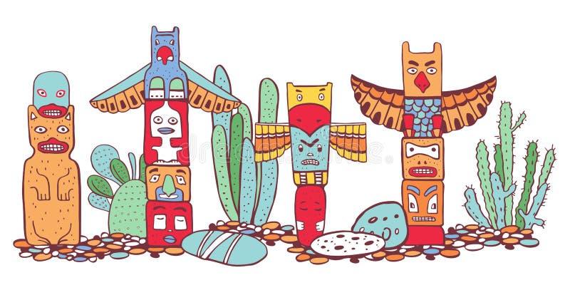 Traditionelle Totempfähle und Kakteen des amerikanischen Ureinwohners Vektorentwurfsfarbhandgezogene Gekritzel-Skizzenillustratio lizenzfreie abbildung