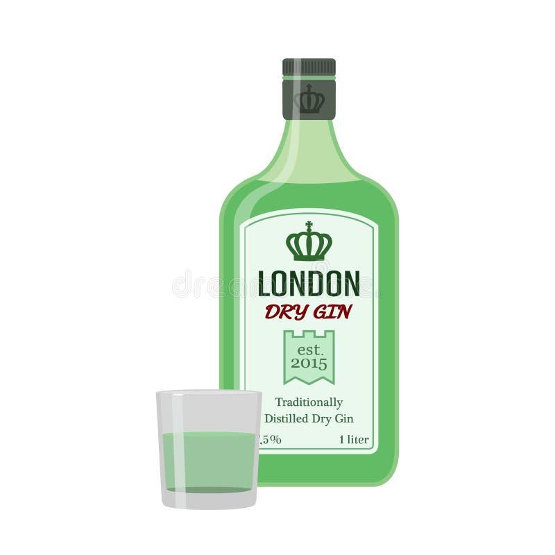 Traditionelle trockene Gingrünflasche Alkoholschuß, Getränk Flache Art vektor abbildung