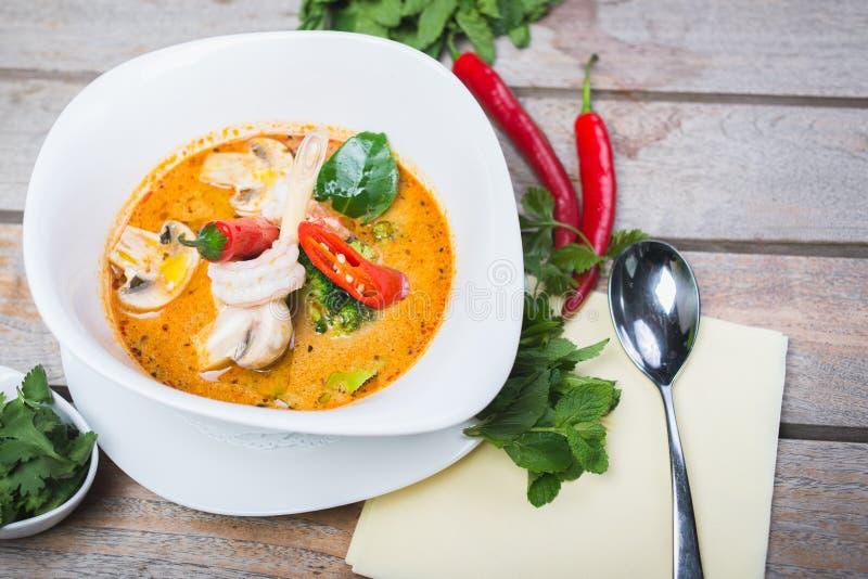 Traditionelle würzige thailändische Tom Yam-Suppe stockbild
