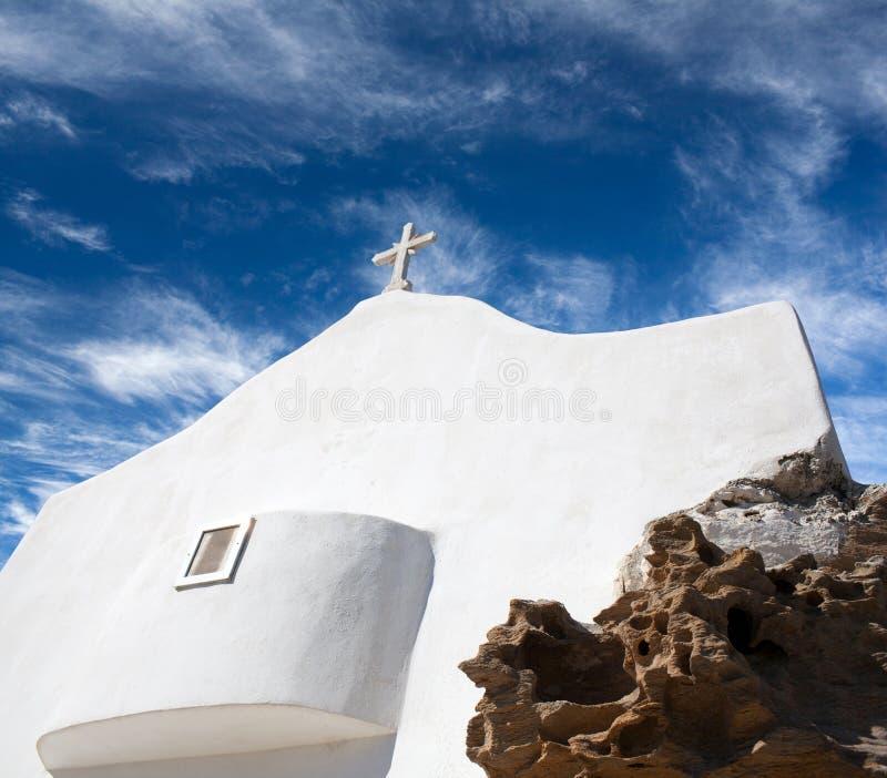 Traditionelle weiße Kirche in Chora auf IOS-Insel, die Kykladen, Griechenland lizenzfreies stockfoto