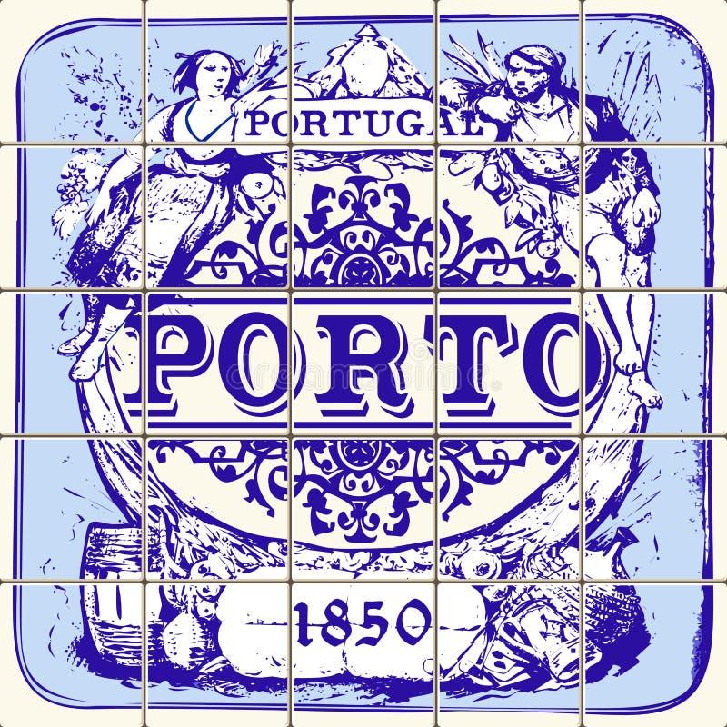 Traditionelle Weinlese-Vektor-Illustration Portugals keramische Porto stock abbildung