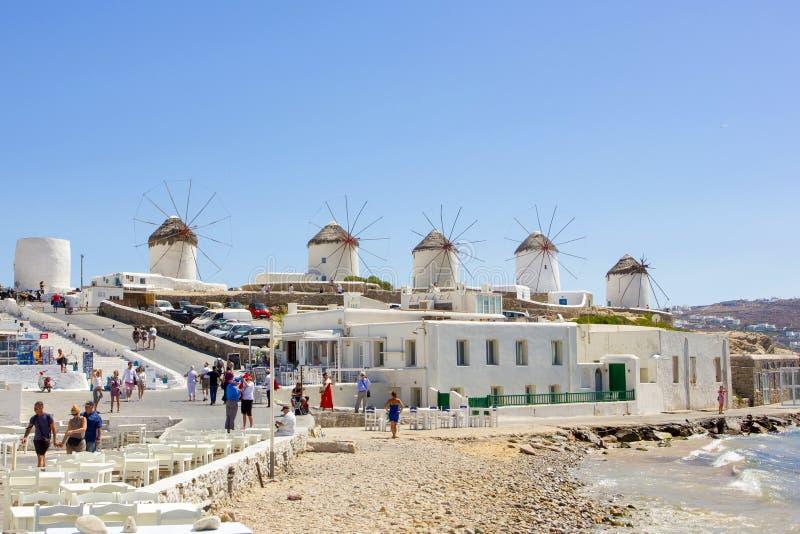 Traditionelle Windmühlen in Griechenland lizenzfreies stockfoto