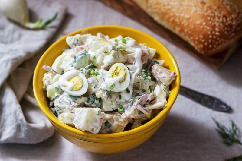 Traditioneller amerikanischer Kartoffelsalat mit dem Ei und Mayonnaise, gedient mit Brot Rustikale Art lizenzfreies stockfoto