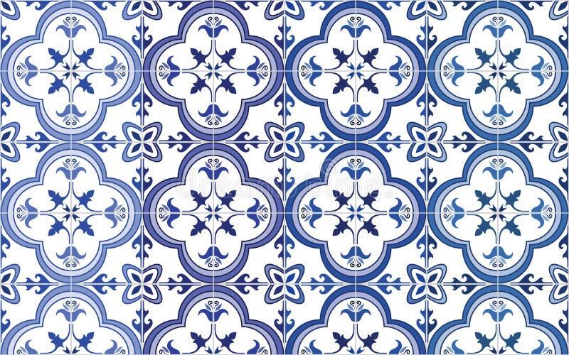 Traditioneller aufwändiger Portugiese deckt azulejos mit Ziegeln Auch im corel abgehobenen Betrag 4 Farbschwankungen des Blaus lizenzfreie abbildung