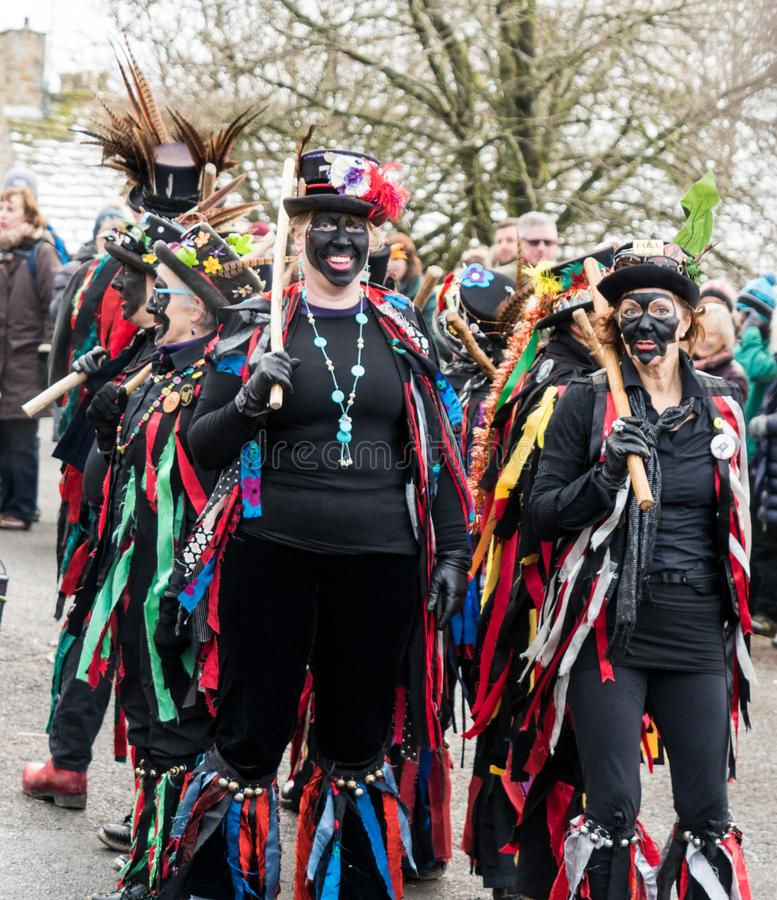 Traditioneller Blackface Morris Dancers, North Yorkshire lizenzfreie stockbilder