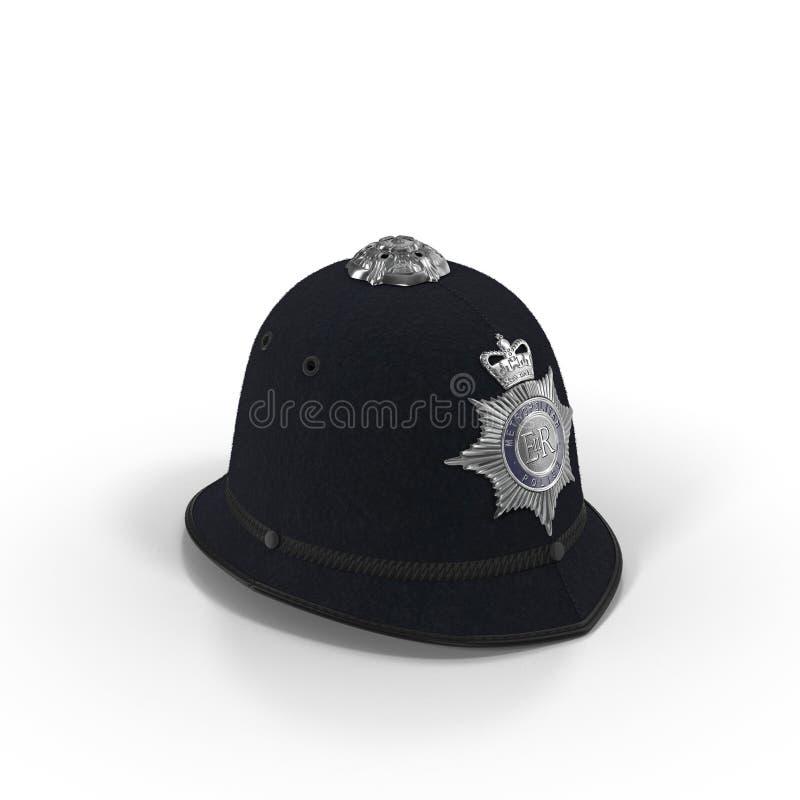 Traditioneller britischer Polizeisturzhelm lokalisiert auf Weiß Abbildung 3D stock abbildung