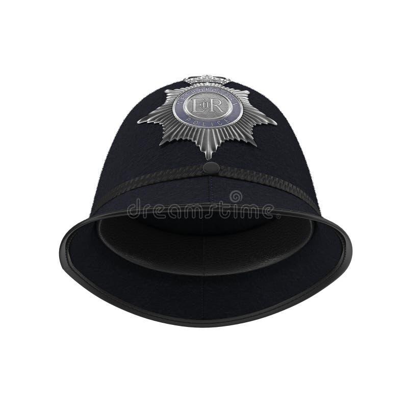 Traditioneller britischer Polizeisturzhelm lokalisiert auf Weiß Abbildung 3D vektor abbildung