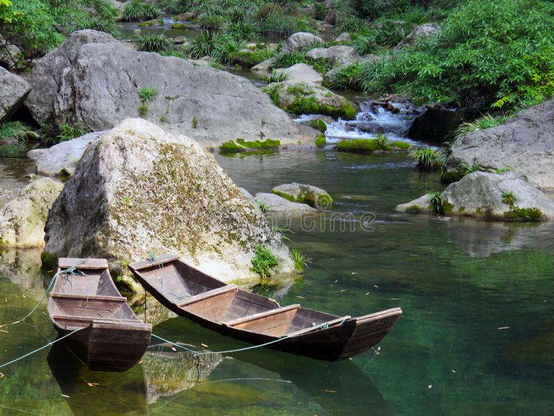 Traditioneller Chinese-Fluss-Boote stockfotos