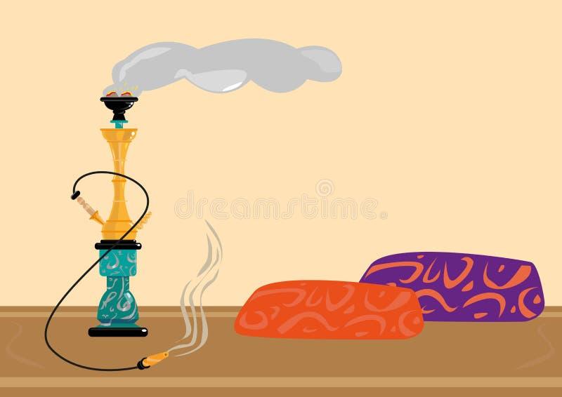 Traditioneller entspannender Raucherzone-Aufenthaltsraum Sisha oder Shisha Flacher Art-Clipart stock abbildung