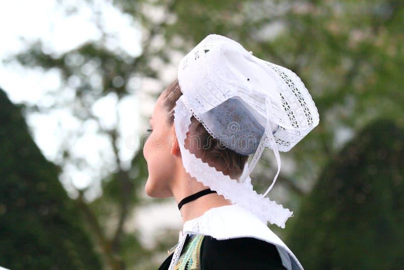 Traditioneller gestickter bretonischer Spitzehut stockbild