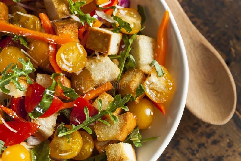 Traditioneller gesunder Panzanella-Salat lizenzfreie stockbilder