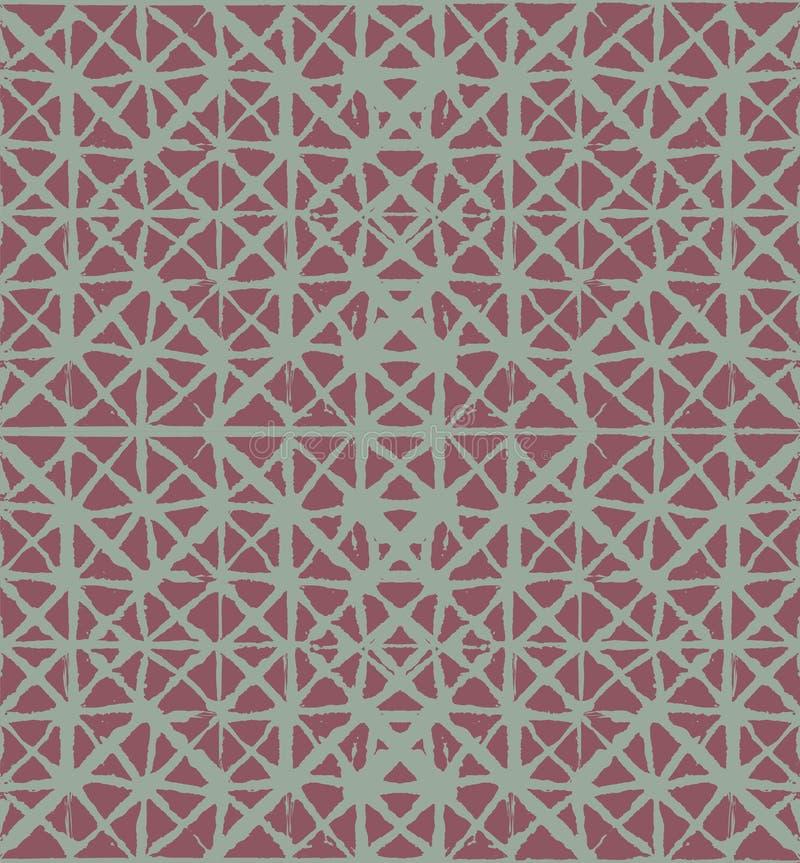 Traditioneller Japan-Bindungs-Färbungs-Verzierungs-organischer Kimono-Vektor-nahtloses Muster Aquarell-Batik-Beschaffenheit Geome vektor abbildung